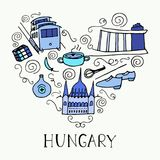 De symbolen van Hongarije in de vorm van hart Stock Afbeelding