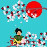 De symbolen van Japanse cultuur in één beeld Stock Afbeeldingen