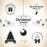 De symbolen van Kerstmis en van het Nieuwjaar Royalty-vrije Stock Foto's