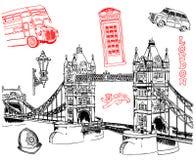 De symbolen van Londen geliefd door al toerist vector illustratie