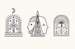 De Symbolen van de mysticus Esoterisch, Alchimie, heilige meetkunde royalty-vrije stock afbeelding