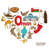 De symbolen van Oman in het concept van de hartvorm Stock Afbeeldingen