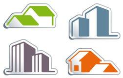 De symbolen van onroerende goederen Stock Afbeelding