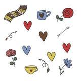 De symbolen van de valentijnskaartendag vector illustratie