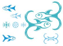 De symbolen van vissen, vector Royalty-vrije Stock Afbeeldingen