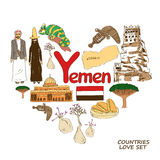 De symbolen van Yemen in het concept van de hartvorm Royalty-vrije Stock Afbeeldingen