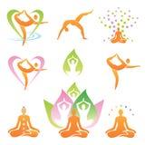De symbolen van yogapictogrammen Stock Afbeeldingen