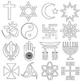 De symbolen vectorreeks van wereldgodsdiensten overzichtspictogrammen Royalty-vrije Stock Foto
