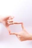 De symbolenconcept van de vingerhand het ontwerpen samenstelling voor het nemen van een fotobeeldzoeker op witte achtergrond Royalty-vrije Stock Afbeelding