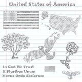 De symbolenschets van de Verenigde Staten van Amerika Royalty-vrije Stock Foto
