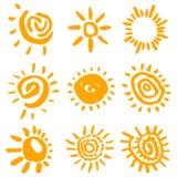 De symbolenvector van de zon Stock Foto's