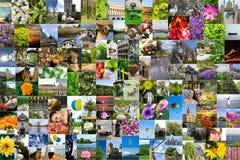De symmetrische collage van de mozaïekmengeling van 200 die foto's door mij tijdens Europa worden geschoten reist Stock Afbeeldingen