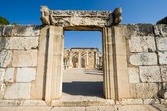 De synagoge van Capernaum Stock Fotografie