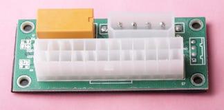 De Synchronisatieaanzet van de mijnbouwatx 24 Pin Dual PSU Voeding op roze rug Royalty-vrije Stock Afbeeldingen