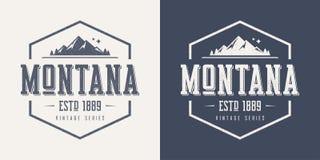 De t-shirt en de kledingsontwerp van de staat van Montana geweven uitstekend vector royalty-vrije illustratie