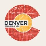 De t-shirt grafisch ontwerp van Colorado met de stadskaart van Denver Stock Fotografie