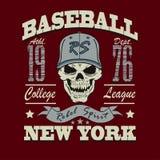 De t-shirt grafisch ontwerp van de honkbalschedel Royalty-vrije Stock Fotografie