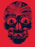 De T-shirt Grafisch Ontwerp van de schedelzomer Royalty-vrije Stock Foto