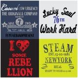 De T-shirt Grafisch Ontwerp van de slogan Vastgesteld Mens Stock Fotografie