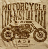 De T-shirt Grafisch Ontwerp van motorfiets Uitstekend New York Royalty-vrije Stock Foto's