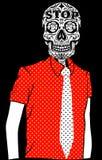 De T-shirt Grafisch Vectorontwerp van de schedelmens Stock Afbeelding