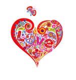 De t-shirt met kleurrijke abstracte hartvorm met het symbool van de hippievrede, madeliefje, houdt van van letters voorzien en gr stock illustratie