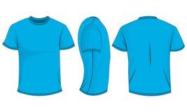 De t-shirt van blauwe mensen met korte kokers voor, achter, zijaanzicht Geïsoleerdj op witte achtergrond vector illustratie