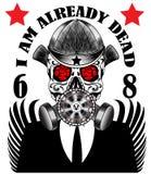 De T-shirt van de de Affichemens van het schedelgasmasker Stock Foto's