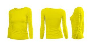 De T-shirt van de gele grijze vrouw stock foto's