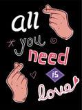 De t-shirtdruk en borduurwerk van het liefdeconcept met uitstekende handen Royalty-vrije Stock Foto