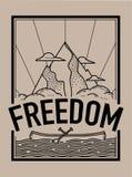De t-shirtdruk en borduurwerk van het vrijheidsconcept Stock Afbeelding