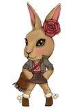 De t-shirtdruk van de konijntjesvrouw Stock Foto's