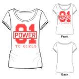De t-shirtdruk van de maniersport voor meisjes met het van letters voorzien macht 01 aan meisjes royalty-vrije illustratie