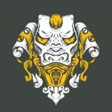 De T-shirtontwerp van de draaktatoegering Hoofd van de Aziatische tijger stock afbeelding