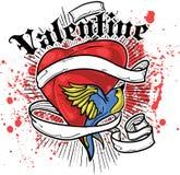 De t-shirtontwerp van het hart en van de vogel Stock Afbeeldingen