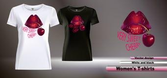 De t-shirts van ontwerpvrouwen met een kleurendruk met lippen en kers stock illustratie