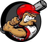 De taaie Speler van het Honkbal met de Knuppel van de Holding van de Helm Stock Afbeeldingen