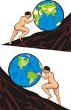 De taak van Sisyphus - zware arbeid één `s manier Stock Afbeelding