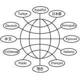 De taal van de vertaal wereld communicatie bol Stock Afbeeldingen
