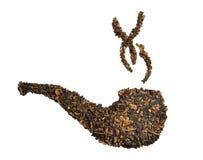 De tabak van de pijp met rook Stock Afbeeldingen