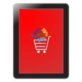 De tablet en de korting slaan online verkoop op Stock Afbeeldingen
