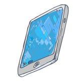 De tablet is met de hand geschilderd in waterverf Royalty-vrije Stock Foto's