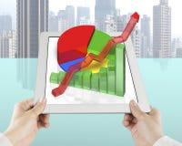 De tablet van de handholding met 3D grafiek Stock Afbeelding