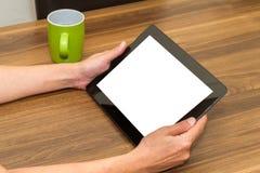 De Tablet van de handholding met het Lege Scherm Royalty-vrije Stock Foto's
