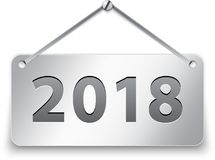 de tablet van 2018 het hangen op witte achtergrond royalty-vrije illustratie