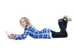 De tablet van het jongensportret Stock Afbeeldingen