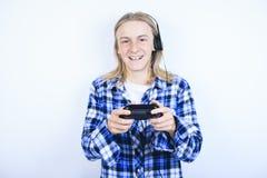 De tablet van het jongensportret Stock Foto's