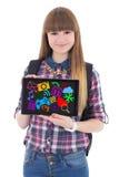 De tabletpc van de tienerholding met met kleurrijke media pictogrammen stock foto's