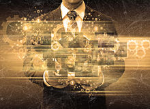 De tablettechnologie van de zakenmanholding Royalty-vrije Stock Foto