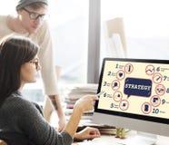 De Tactiek Grafisch Concept Strategiemethodes van de bedrijfs van Analytics stock foto's